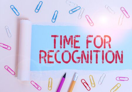 Writing note showing Time For Recognition. Business concept for Acknowledgement Interval between Stimulus and Nature Stationary and torn cardboard placed above plain pastel table backdrop Фото со стока