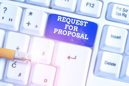 Conceptual hand writing showing Request For Proposal. Concept meaning document contains bidding process by agency or company White pc keyboard with note paper above the white background