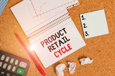 Writing note showing Product Retail Cycle. Business concept for as brand progresses through sequence of stages Desk notebook paper office paperboard study supplies chart