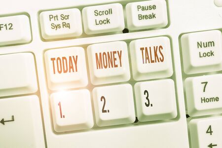 Writing note showing Money Talks. Business concept for the wealth gives power and influence to those who possess it Keyboard with note paper on white background key copy space