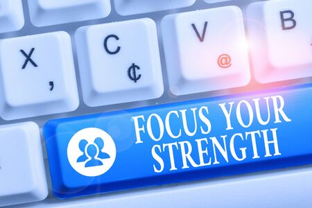 Word writing text Focus Your Strength. Business photo showcasing Improve skills work on weakness points think more White pc keyboard with empty note paper above white background key copy space Banque d'images