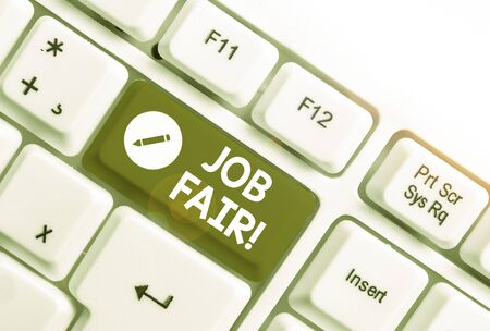 Text sign showing Job Fair. Business photo text event where employers offer information about their companies White pc keyboard with empty note paper above white background key copy space