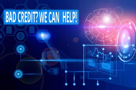 Text sign showing Bad Credit Question We Can Help. Business photo showcasing offering help after going for loan then rejected Picture photo system network scheme modern technology smart device Stok Fotoğraf