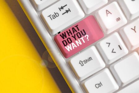 Text sign showing What Do You Want Question. Business photo text say or write in order to ask demonstrating about something White pc keyboard with empty note paper above white background key copy space