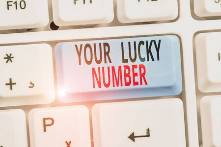Word writing text Your Lucky Number. Business photo showcasing believing in letter Fortune Increase Chance Casino Stock Photo