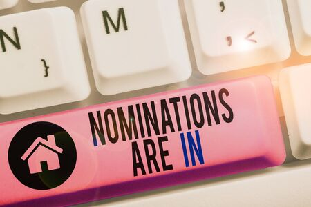 Conceptual hand writing showing Nominations Are In. Concept meaning Formally Choosing someone Official Candidate for an Award