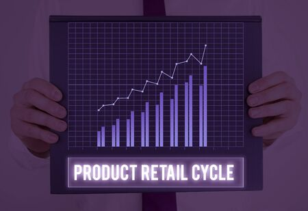 Text sign showing Product Retail Cycle. Business photo showcasing as brand progresses through sequence of stages Stock Photo