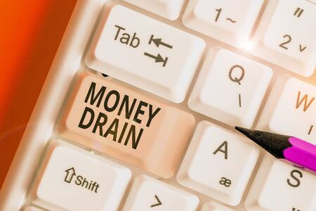 Word writing text Money Drain. Business photo showcasing To waste or squander money Spend money foolishly or carelessly
