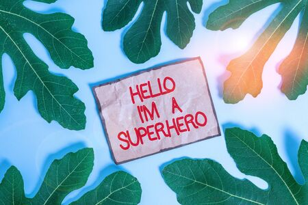 Writing note showing Hello I M A Superhero. Business concept for Believing in yourself Selfconfidence Introduction Leaves surrounding notepaper above empty soft pastel table Stock Photo