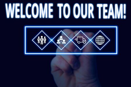 Handwriting text writing Welcome To Our Team. Conceptual photo introducing another demonstrating to your team mates Picture photo system network scheme modern technology smart device 写真素材