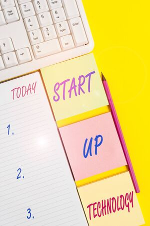 Text sign showing Start Up Technology. Business photo text Young Technical Company initially Funded or Financed Empty papers with copy space on the yellow background table