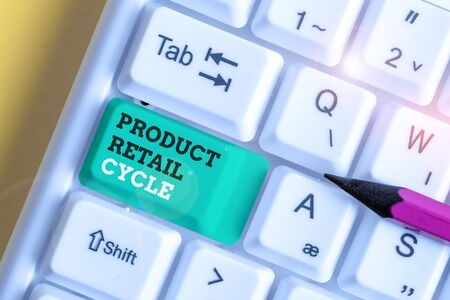 Handwriting text Product Retail Cycle. Conceptual photo as brand progresses through sequence of stages White pc keyboard with empty note paper above white background key copy space