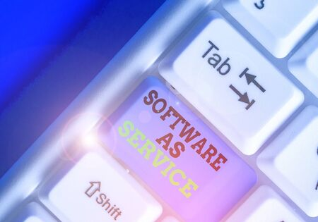 Text sign showing Software As Service. Business photo showcasing On Deanalysisd licensed on Subscription and centrally hosted Stock Photo