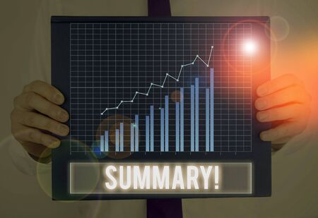 Text sign showing Summary. Business photo showcasing a brief statement or account of the main points of something Stock Photo