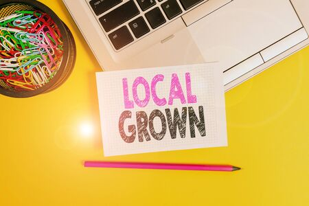 Conceptual hand writing showing Local Grown. Concept meaning agricultural products produced then sold within a certain area Trendy laptop pencil squared paper container colored background 写真素材