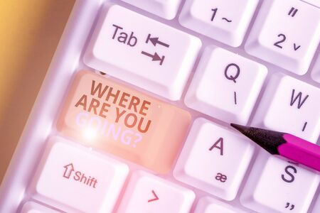 Text sign showing Where Are You Goingquestion. Business photo text used to ask someone the destination headed to White pc keyboard with empty note paper above white background key copy space Reklamní fotografie