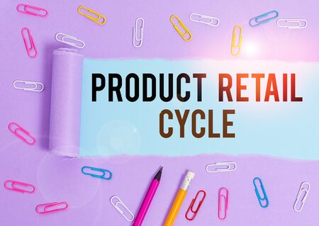 Writing note showing Product Retail Cycle. Business concept for as brand progresses through sequence of stages Stationary and torn cardboard on a wooden classic table backdrop
