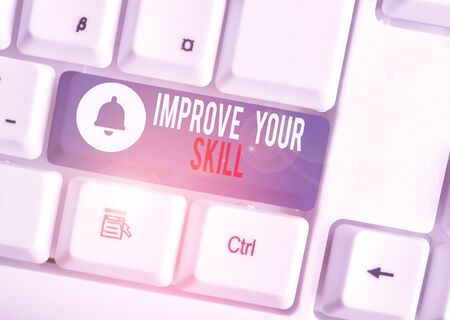 Text sign showing Improve Your Skill. Business photo text Unlock Potentials from Very Good to Excellent to Mastery White pc keyboard with empty note paper above white background key copy space
