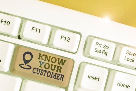 Text sign showing Know Your Customer. Business photo text Marketing creating a poll improve product or brand