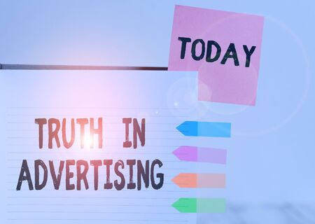 Word writing text Truth In Advertising. Business photo showcasing Practice Honest Advertisement Publicity Propaganda Hard cover note book sticky note arrow banners inserted clear background Banco de Imagens