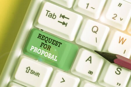 Handwriting text Request For Proposal. Conceptual photo document contains bidding process by agency or company White pc keyboard with empty note paper above white background key copy space