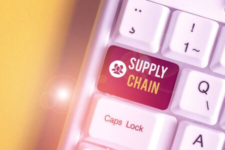 Text sign showing Supply Chain. Business photo text network between a company and suppliers in producing a product White pc keyboard with empty note paper above white background key copy space