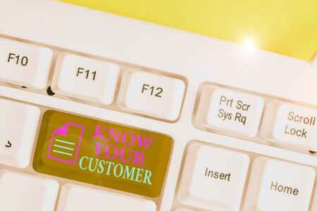 Writing note showing Know Your Customer. Business concept for Marketing creating a poll improve product or brand White pc keyboard with note paper above the white background Фото со стока