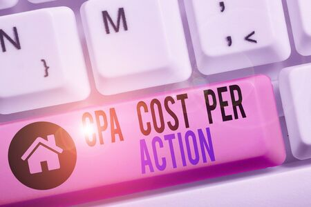 Conceptual hand writing showing Cpa Cost Per Action. Concept meaning Commission paid when user Clicks on an Affiliate Link Banco de Imagens