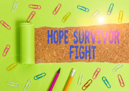 Word writing text Hope Survivor Fight. Business photo showcasing stand against your illness be fighter stick to dreams Stationary and torn cardboard placed above a wooden classic table backdrop Standard-Bild