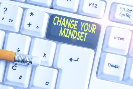 Word writing text Change Your Mindset. Business photo showcasing replace your beliefs way of thinking mental path White pc keyboard with empty note paper above white background key copy space Фото со стока