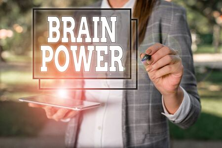 Handwriting text Brain Power. Conceptual photo Ability to comprehend To understand and profit from experience Outdoor background with business woman holding lap top and pen