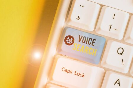 Writing note showing Voice Search. Business concept for allows the user to use a voice comanalysisd to search the Internet White pc keyboard with note paper above the white background