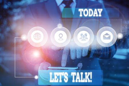 Text sign showing Let S Is Talk. Business photo showcasing suggesting in the beginning of a conversation on the topic Picture photo system network scheme modern technology smart device