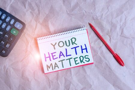 Word writing text Your Health Matters. Business photo showcasing Physical Wellness is Important Stay Fit and Healthy Papercraft craft paper desk square spiral notebook office study supplies Imagens