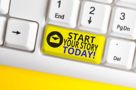 Word writing text Start Your Story Today. Business photo showcasing work hard on yourself and begin from this moment White pc keyboard with empty note paper above white background key copy space Фото со стока