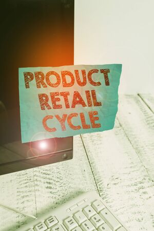 Handwriting text Product Retail Cycle. Conceptual photo as brand progresses through sequence of stages Notation paper taped to black computer monitor screen near white keyboard
