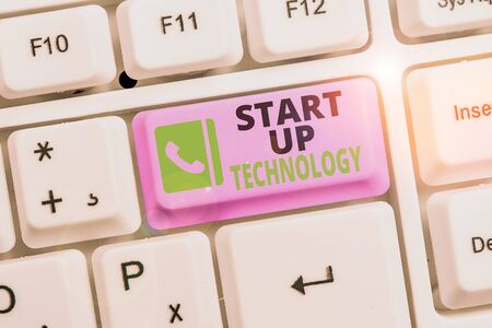 Conceptual hand writing showing Start Up Technology. Concept meaning Young Technical Company initially Funded or Financed