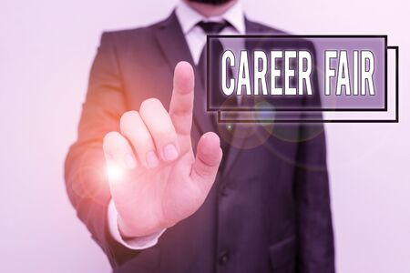 Text sign showing Career Fair. Business photo showcasing an event at which job seekers can meet possible employers Male human with beard wear formal working suit clothes raising one hand up