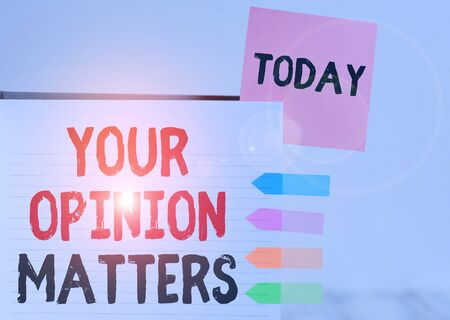 Word writing text Your Opinion Matters. Business photo showcasing to Have your say Providing a Valuable Input to Improve Hard cover note book sticky note arrow banners inserted clear background Stock fotó