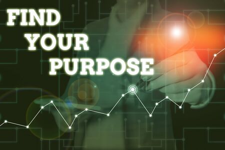 Conceptual hand writing showing Find Your Purpose question. Concept meaning reason for something is done or for which exists Woman wear formal work suit present using smart latest device Standard-Bild - 133468769