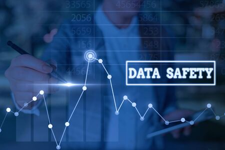 Word writing text Data Safety. Business photo showcasing concerns protecting data against loss by ensuring safe storage