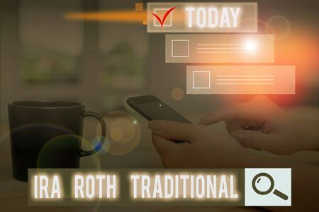 Conceptual hand writing showing Ira Roth Traditional. Concept meaning are tax deductible on both state and federal Stock Photo