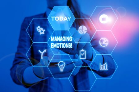 Handwriting text Managing Emotions. Conceptual photo ability be open to feelings and modulate them in oneself Woman wear formal work suit present presentation using smart latest device