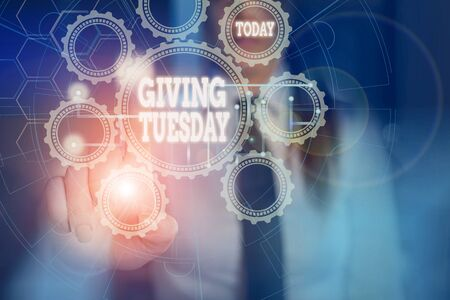 Handwriting text writing Giving Tuesday. Conceptual photo international day of charitable giving Hashtag activism Picture photo system network scheme modern technology smart device