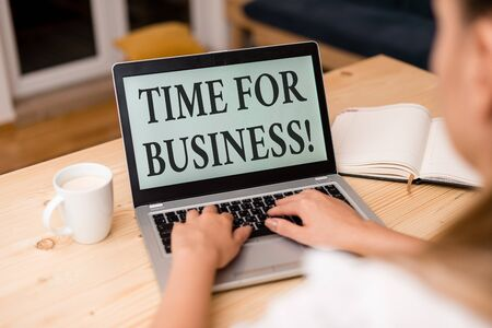 Word writing text Time For Business. Business photo showcasing fulfil transactions within period promised to client woman laptop computer smartphone mug office supplies technological devices Reklamní fotografie - 133469142