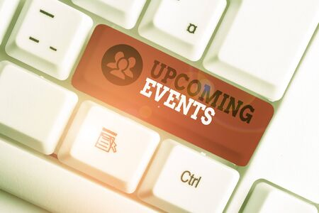 Handwriting text Upcoming Events. Conceptual photo the approaching planned public or social occasions White pc keyboard with empty note paper above white background key copy space