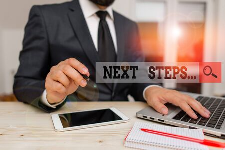 Conceptual hand writing showing Next Steps. Concept meaning something you do or plan after you ve finished something else Male human wear formal clothes present use hitech smartphone Standard-Bild - 133469292