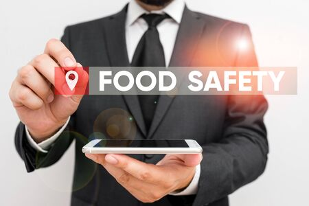Conceptual hand writing showing Food Safety. Concept meaning conditions and practices that preserve the quality of food Male human wear formal work suit hold smartphone using hand