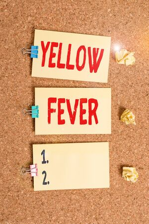 Handwriting text writing Yellow Fever. Conceptual photo tropical virus disease affecting the liver and kidneys Vertical empty sticker reminder memo square billboard corkboard desk paper