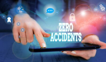 Writing note showing Zero Accidents. Business concept for important strategy for preventing workplace accidents Picture photo network scheme with modern smart device